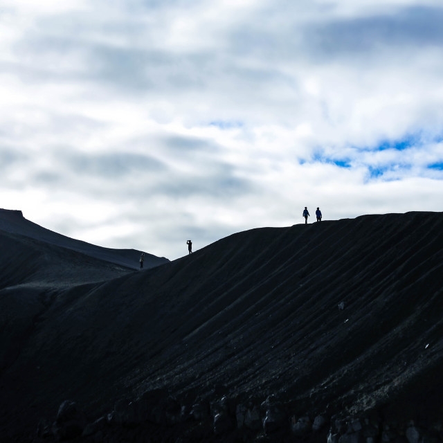 """People on the Crater, Iceland"" stock image"
