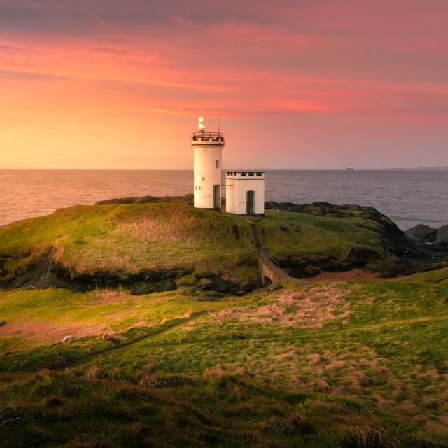 """""""Elie Ness Lighthouse at Sunrise"""" stock image"""
