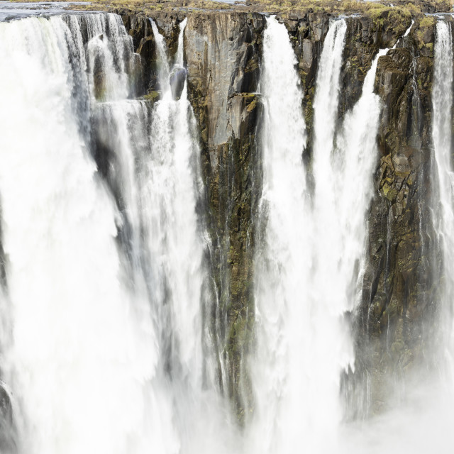 """""""2114 Victoria Falls - view on Cataract Island in high summer period"""" stock image"""