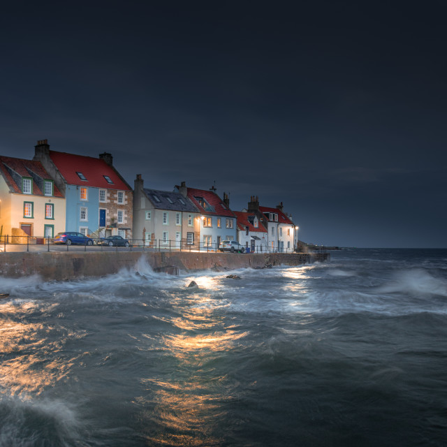 """""""A Wild Night in St Monans"""" stock image"""
