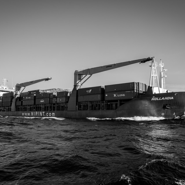 """""""Cargo ship in black and white"""" stock image"""
