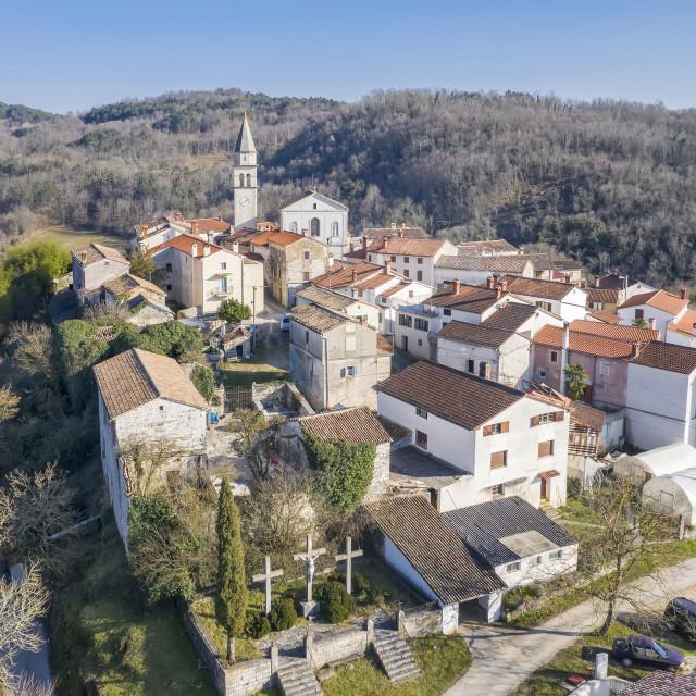 """""""An aerial shot of Beram, Istria, Croatia"""" stock image"""