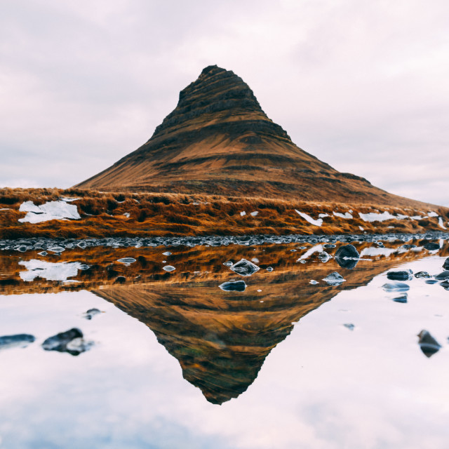 """Reflection of a Mount Kirkjufel in Iceland"" stock image"