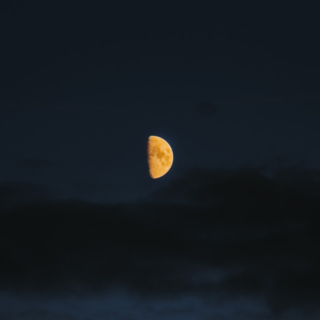 """Half Moon Among Clouds"" stock image"