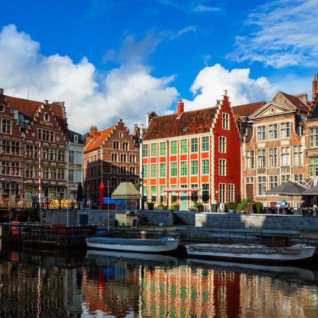 """Ghent canal and Graslei street. Ghent, Belgium"" stock image"