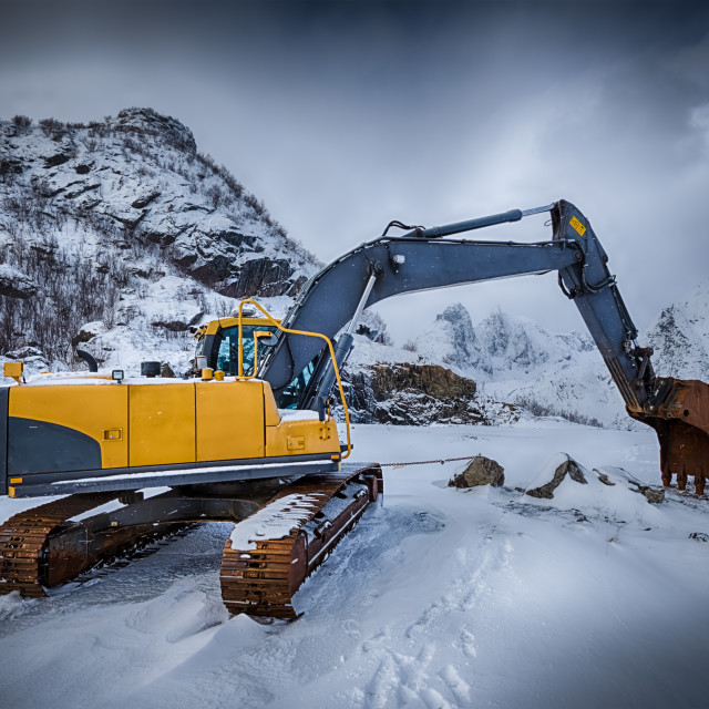 """Old excavator in winter"" stock image"