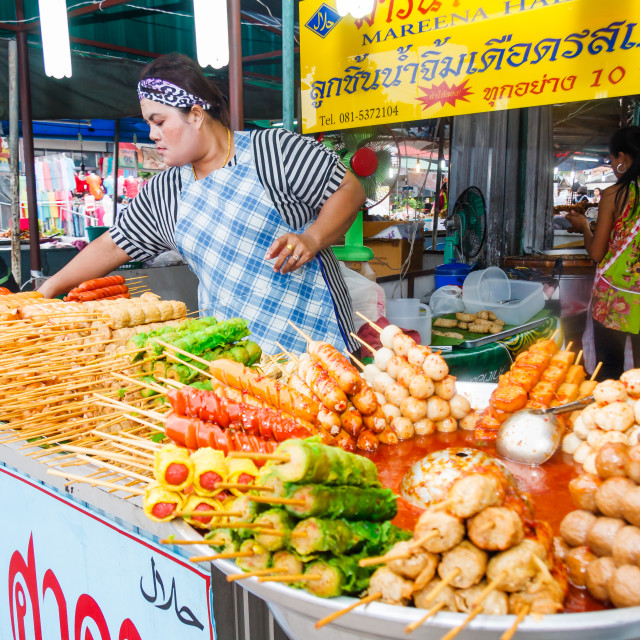"""""""A vendor selling sausages"""" stock image"""