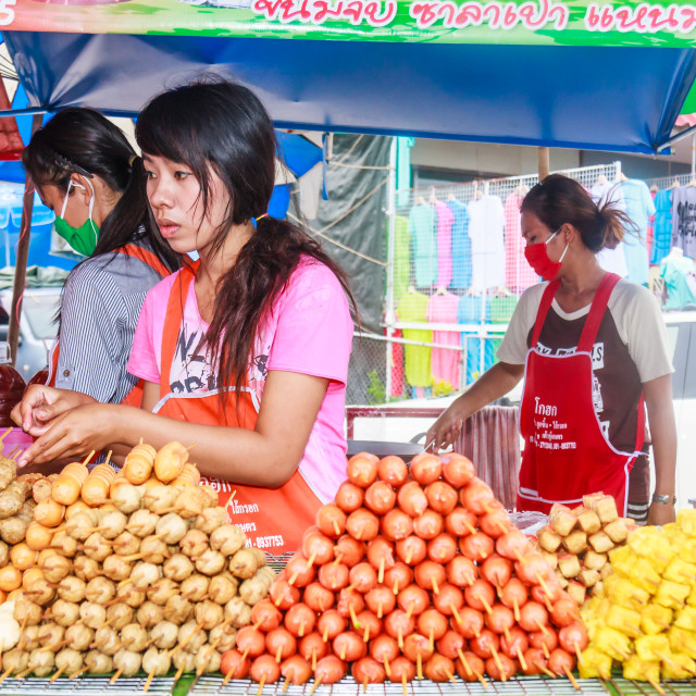 """""""A vendor selling sausages and fish balls"""" stock image"""