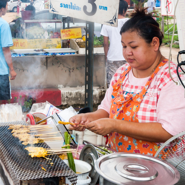 """""""Woman vendor barbecueing chicken"""" stock image"""