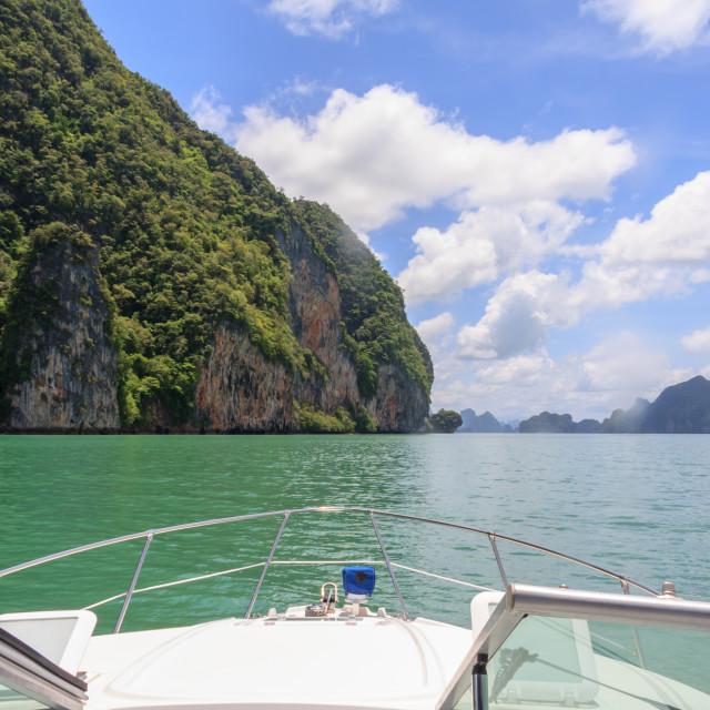 """""""Motor boat cruising in Phang Nga Bay"""" stock image"""