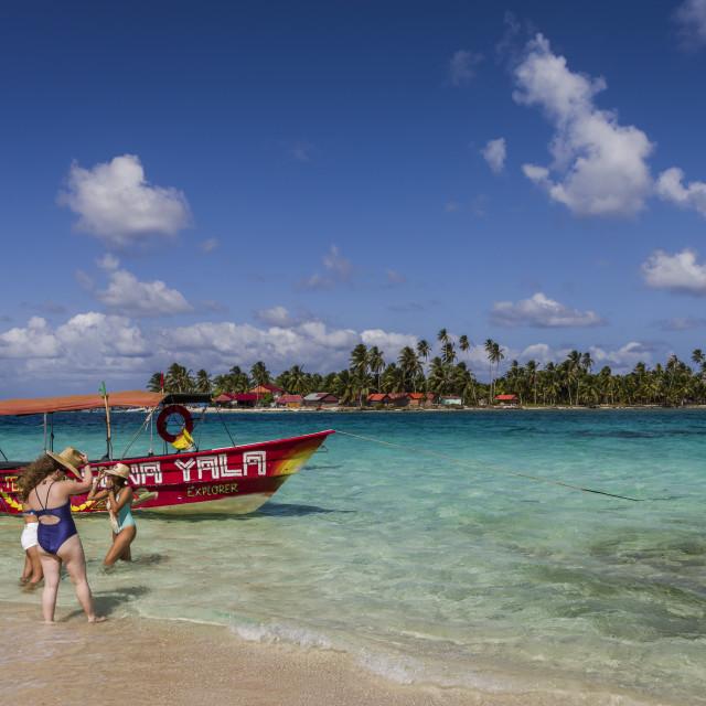 """San Blas tropical Islands in the Caribbean Sea of Panama"" stock image"