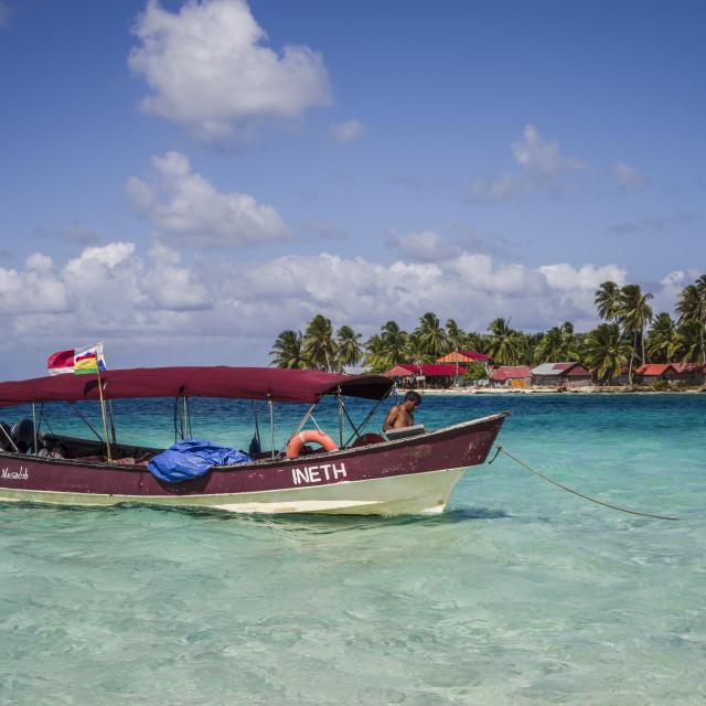"""Tour boat in San Blas tropical Island in Panama"" stock image"