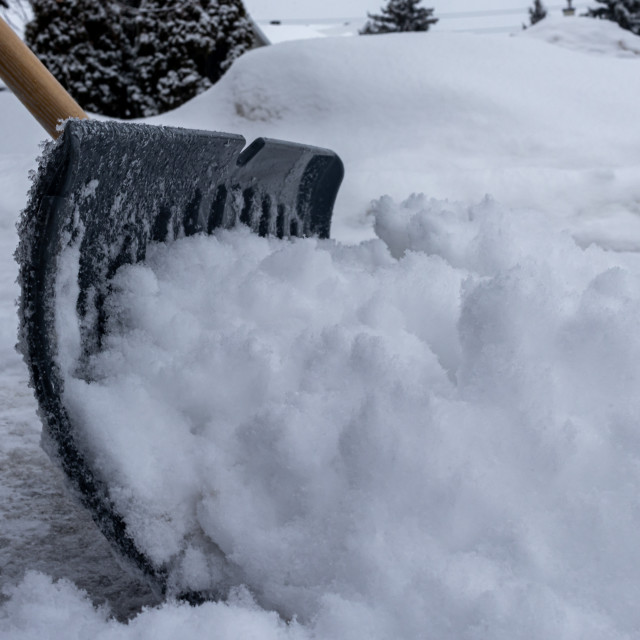 """""""Clearing Driveway Snow with a Shovel"""" stock image"""