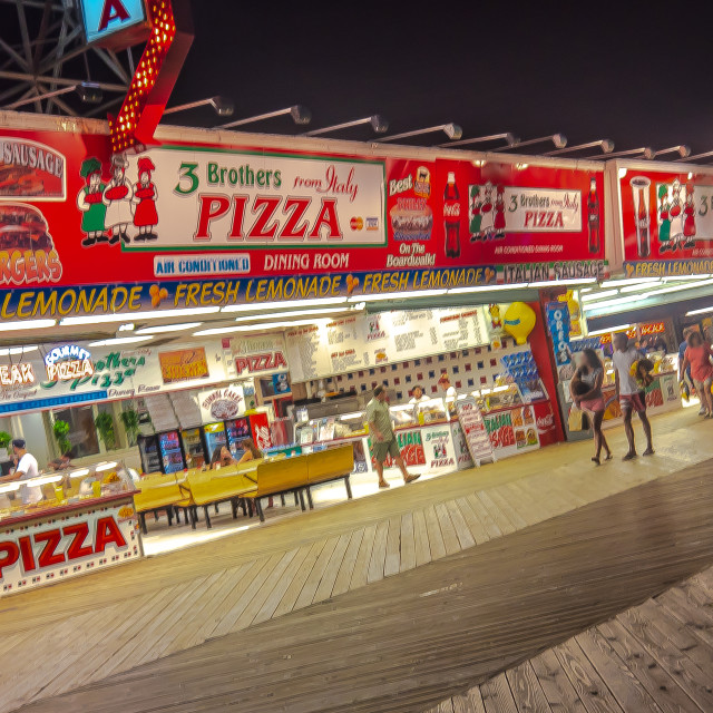 """Pizza on the Boardwalk in Seaside Heights NJ"" stock image"