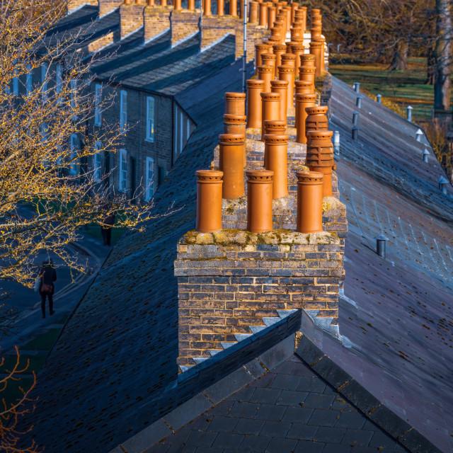"""Chimney Tops, Lower Park Street, Cambridge UK."" stock image"