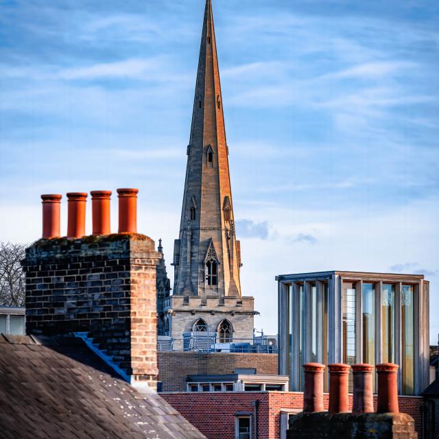 """Sunset, All Saints Church Cambridge UK."" stock image"