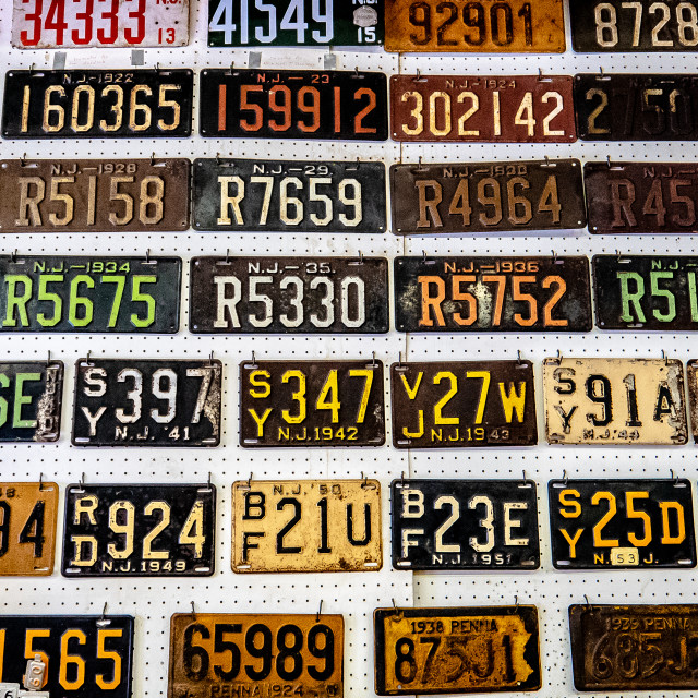 """Vintage New Jersey License Plate Display"" stock image"