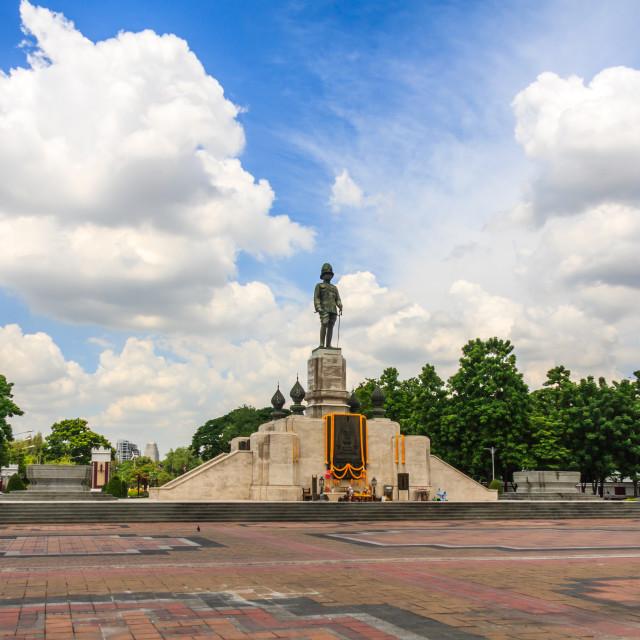 """Statue of King Rama IV outside Lumphini park"" stock image"