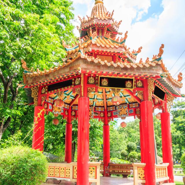 """Chinese pavilion in Lumphini park"" stock image"