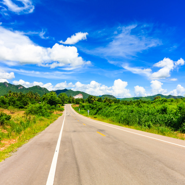 """""""Empty stretch of road into the hills"""" stock image"""