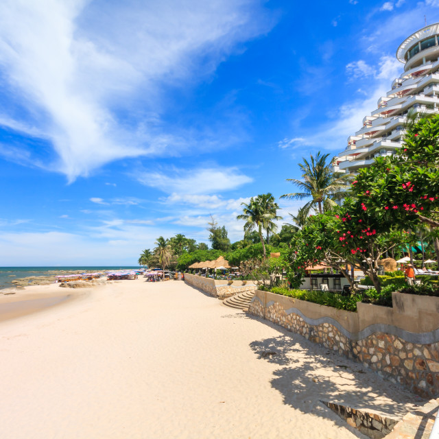 """""""The beach in front of a large hotel"""" stock image"""