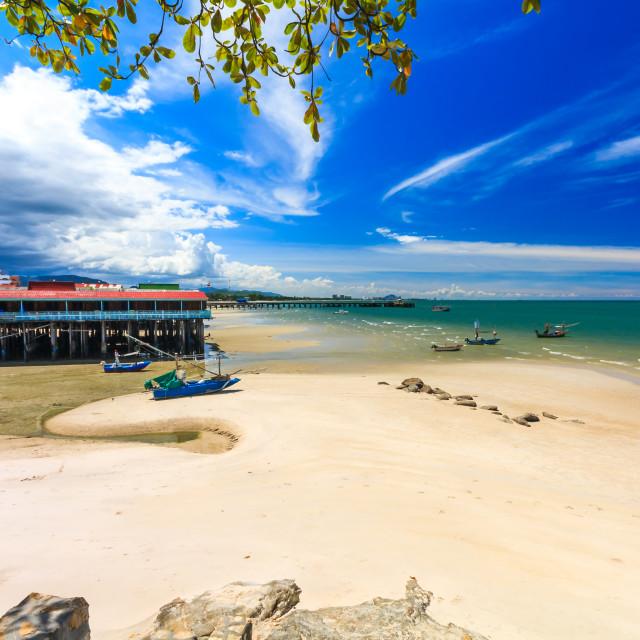 """""""Storm approaching Hua Hin beach"""" stock image"""