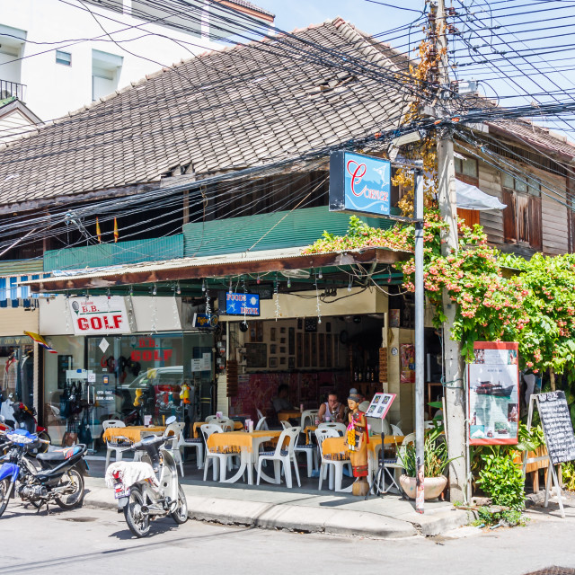 """""""Cafe in typical building."""" stock image"""