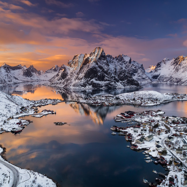 """Reine aerial view at sunset in Lofoten Archipelago, Norway landscape"" stock image"