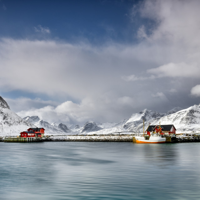 """""""Fisherman house in Lofoten at sea shore in winter time - Norway Landscape"""" stock image"""