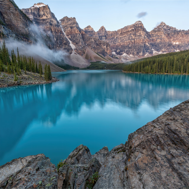 """Early Light at Moraine Lake"" stock image"