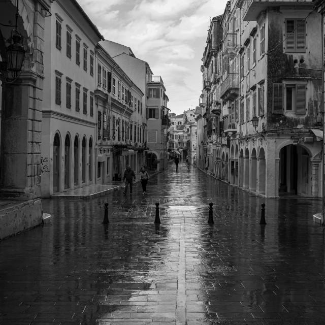"""""""Corfu Town In The Rain"""" stock image"""