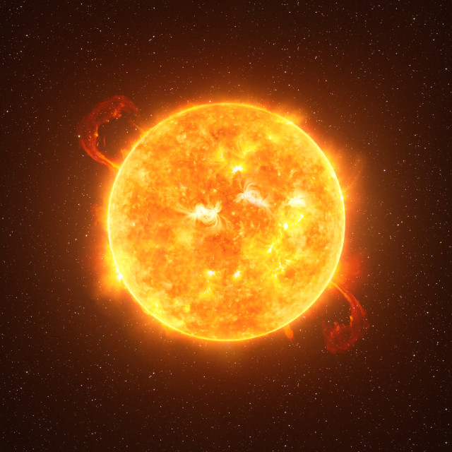"""""""Betelgeuse star against starry sky artistic vision, elements of this image furnished by NASA"""" stock image"""