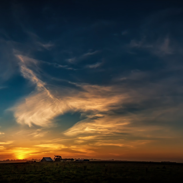 """""""Old Barn at Sunset, Panoramic Color Image"""" stock image"""