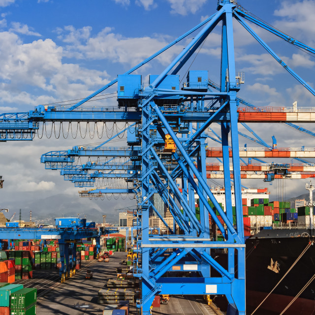 """""""cranes and ship in Genova harbour"""" stock image"""