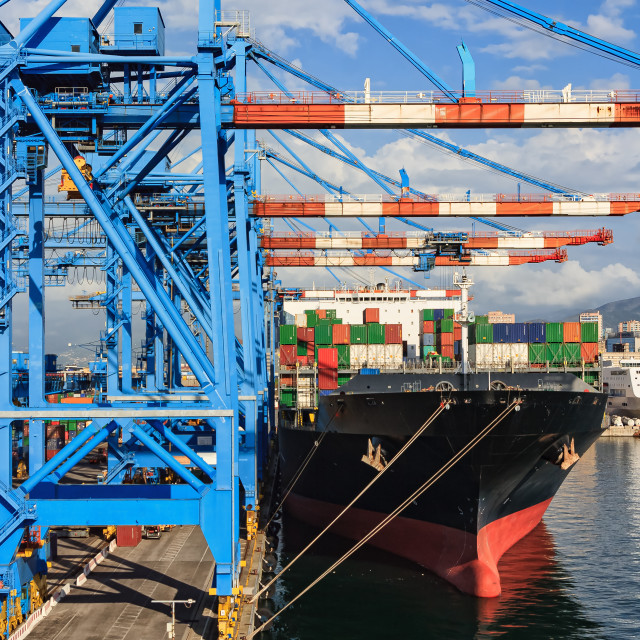 """""""cranes and ship"""" stock image"""