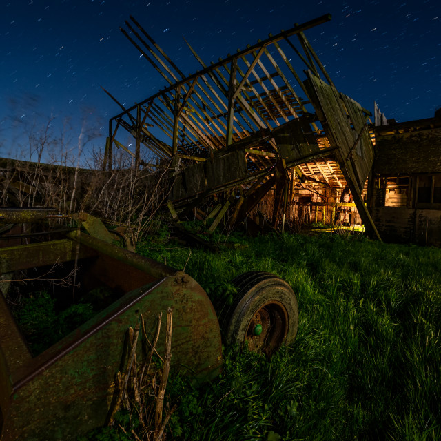 """""""Night at an Abandoned Farm in California"""" stock image"""