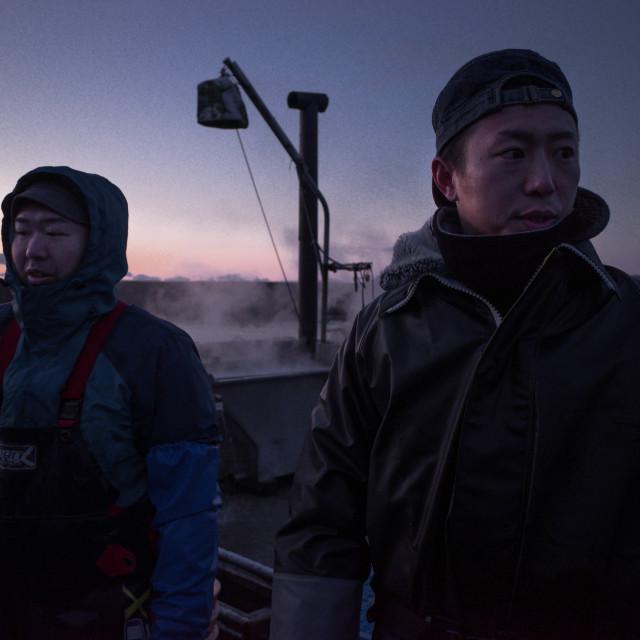 """""""Ishinomaki seaweed farmers, sunrise"""" stock image"""