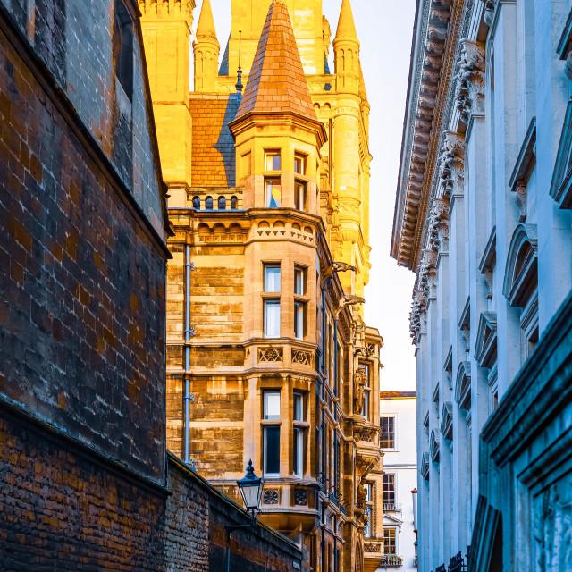 """Sunset, Gonville & Caius College, University of Cambridge UK."" stock image"