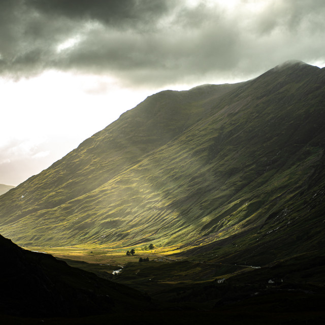 """Glencoe sunset"" stock image"