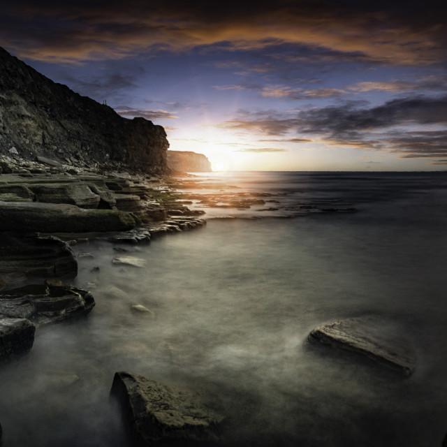 """Old Hartley Rocks, Whitley Bay, Northumberland"" stock image"