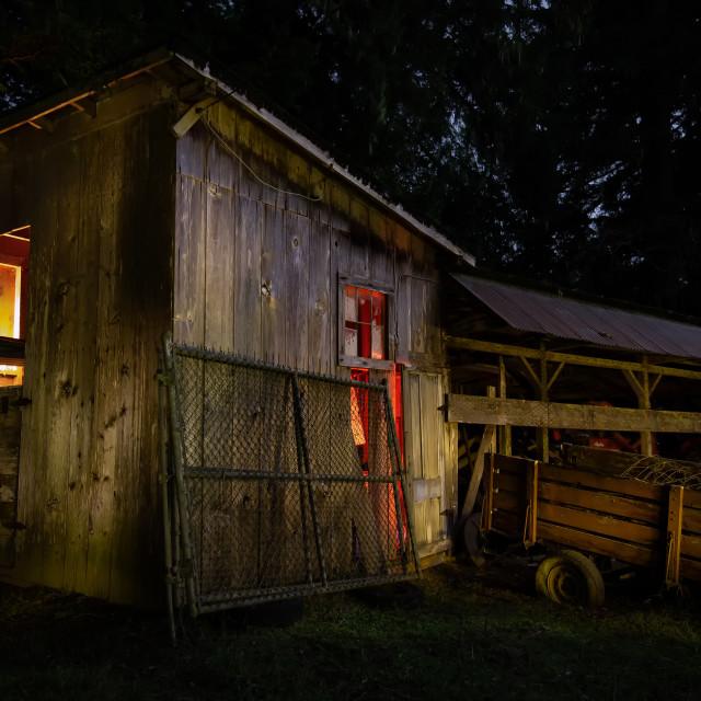 """Night at an Small Farm in California"" stock image"