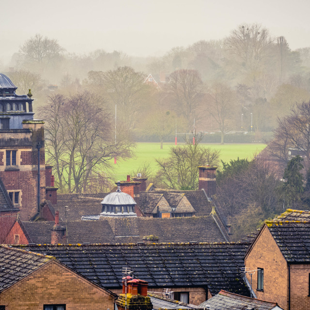 """""""Foggy Morning looking towards St John's College playing fields."""" stock image"""