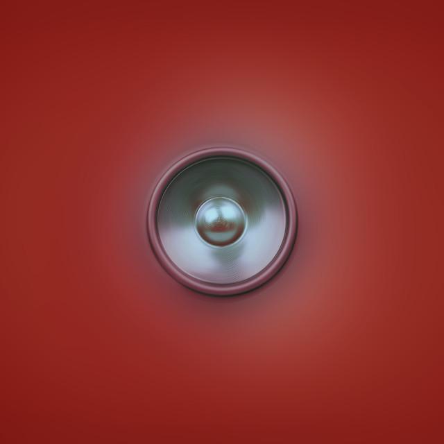 """""""Spinning music speaker on red"""" stock image"""