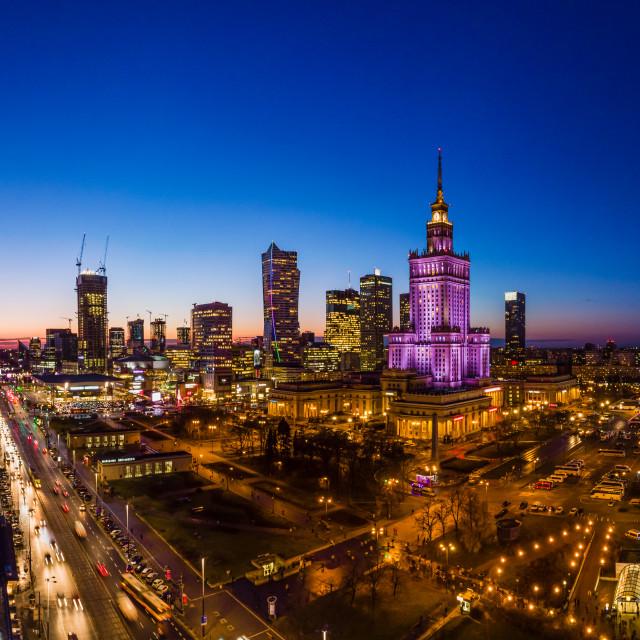 """Warsaw city center at dusk"" stock image"