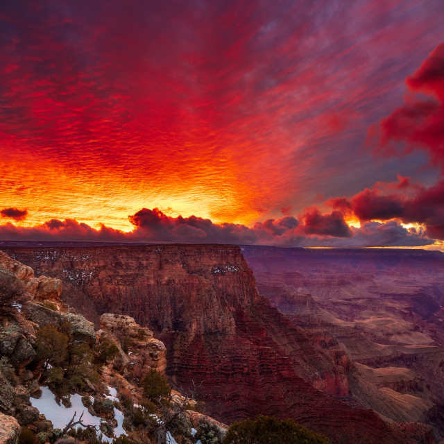 """Dramatic sunset over the Grand Canyon"" stock image"