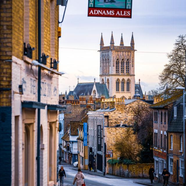 """Dusk, St John's College Chapel Cambridge UK."" stock image"
