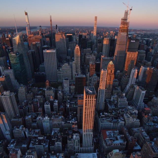 """New York at sunset."" stock image"