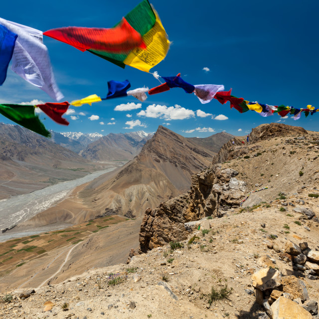 """Buddhist prayer flags lungta with ""Om mani padme hum..."" mantra written on..."" stock image"