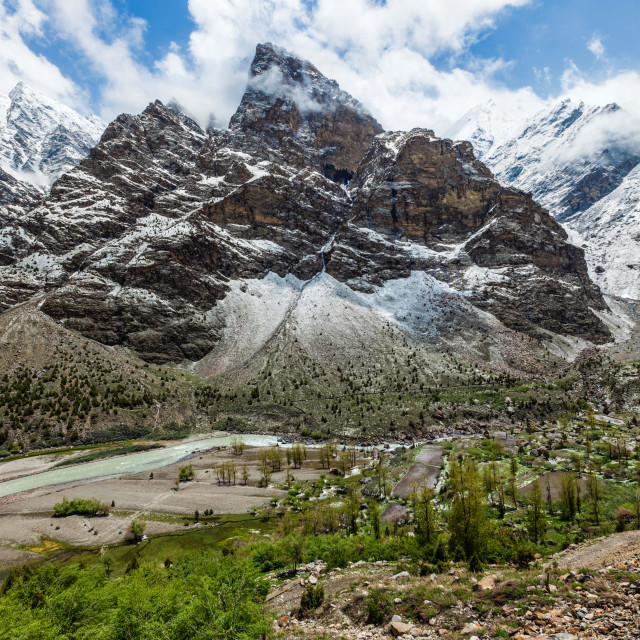 """Lahaul valley in Himalayas with snowcappeped mountains. Himachal Pradesh, India"" stock image"