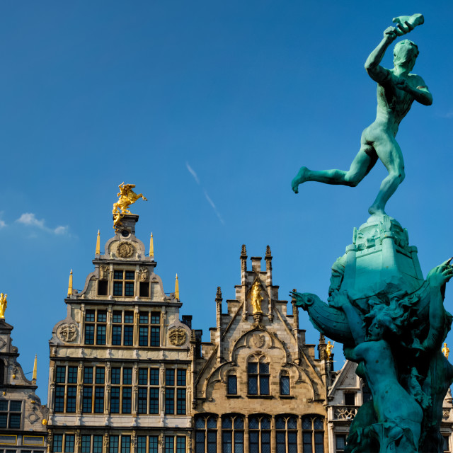 """Antwerp Grote Markt old houses and monumental fountain sculpture, Belgium...."" stock image"